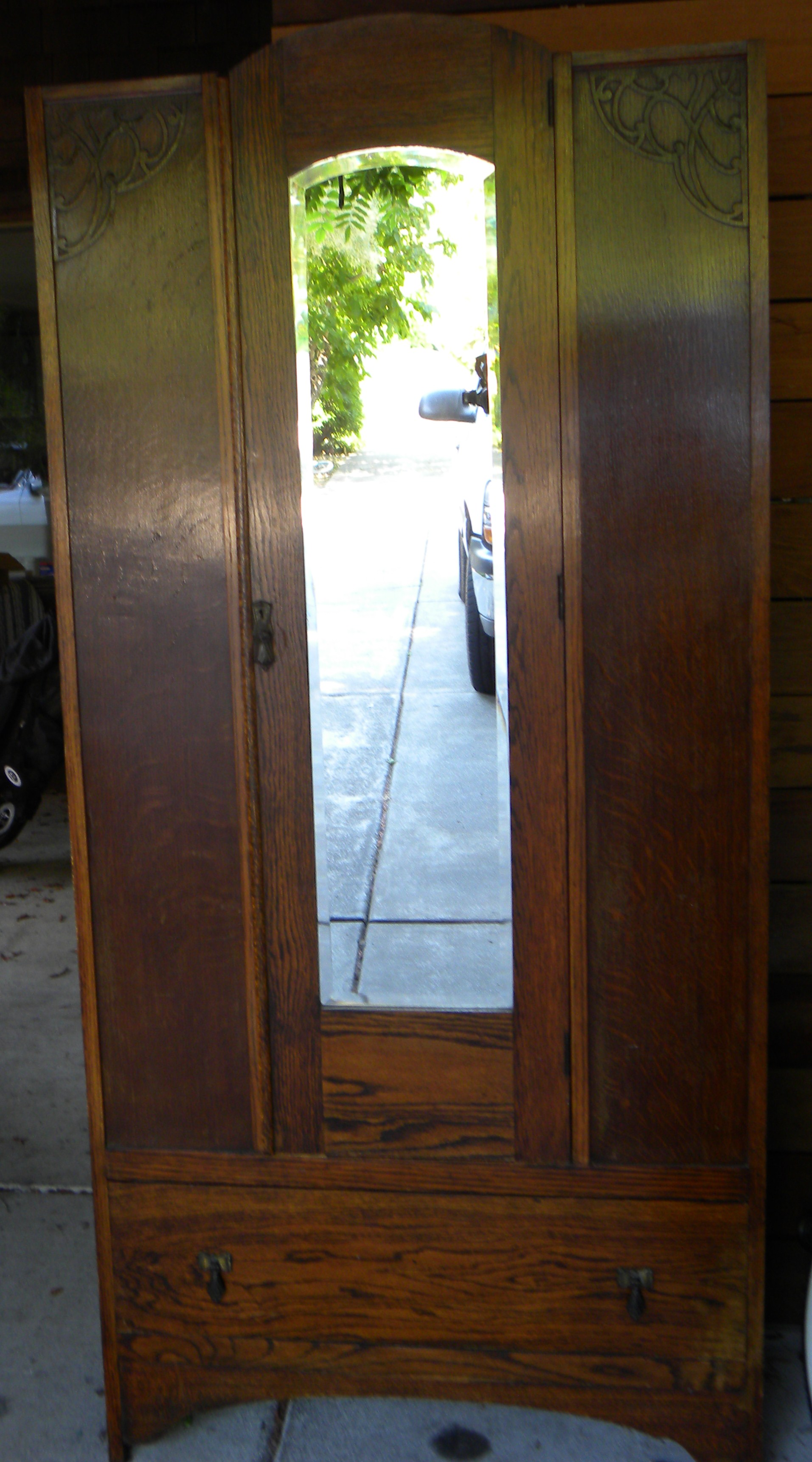 Antique Armoire Wardrobe With Beveled Mirror For Sale