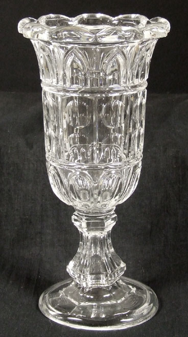 Outstanding 1860s Gothic Pattern Flint Glass Celery Vase For Sale