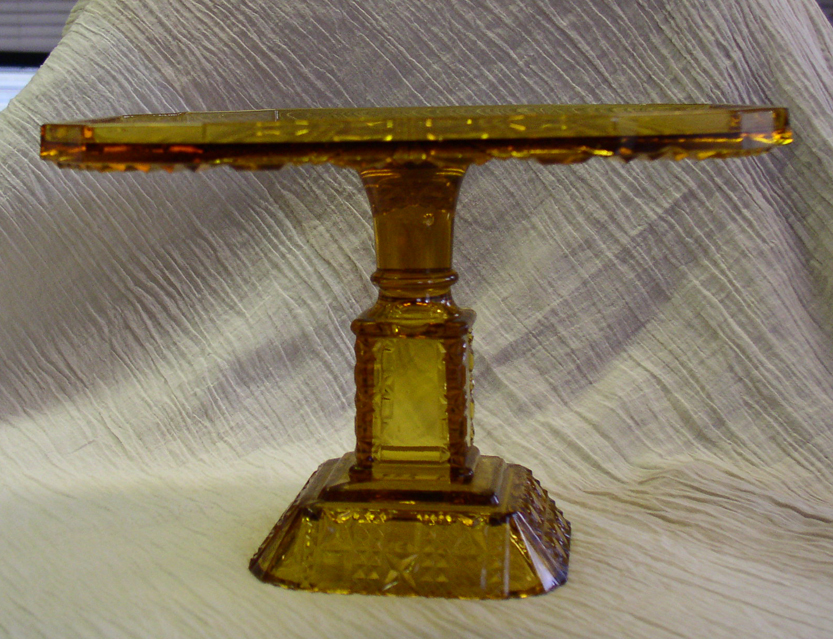 Antique amber glass square pedestal cake stand for sale for Colored glass cake stand