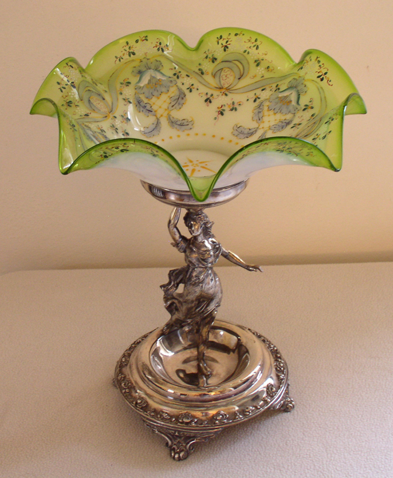 Art Baskets For Sale : Art glass bride s bowl in figural silver plate basket for