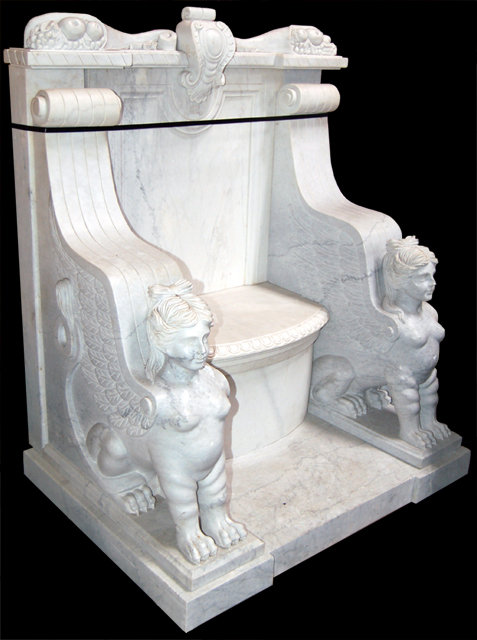 White Marble Throne Chair Upheld by Sphinxes - For Sale - White Marble Throne Chair Upheld By Sphinxes For Sale Antiques
