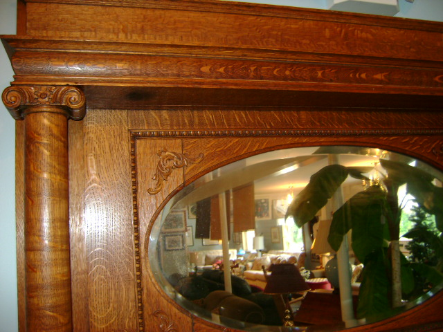 Elegant Victorian Tiger Oak Fireplace Mantel with Beveled Mirror, circa mid  1800's. This is from a old Victorian B&B in New England. - Antique Victorian Tiger Oak Fireplace Mantel With Beveled Mirror