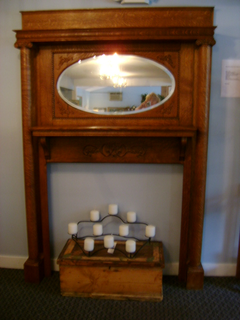 antique victorian tiger oak fireplace mantel with beveled
