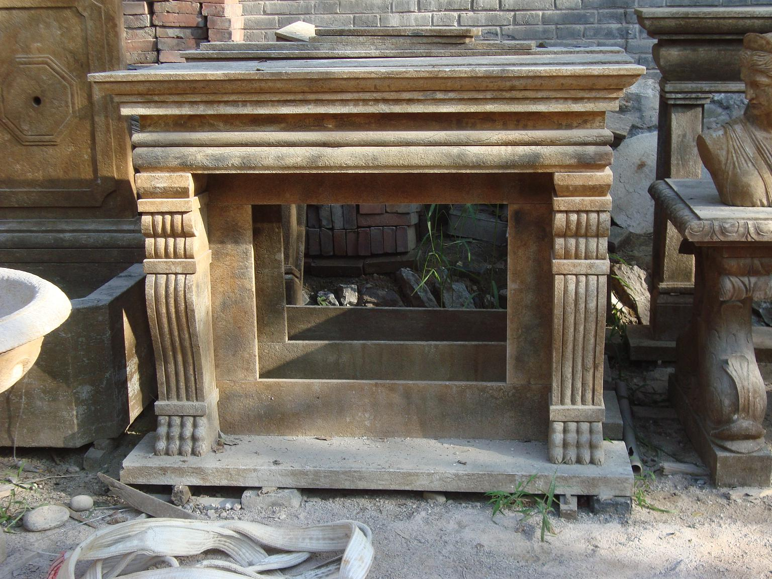 Hand carved antique marble fireplace mantel for sale for Marble mantels for sale