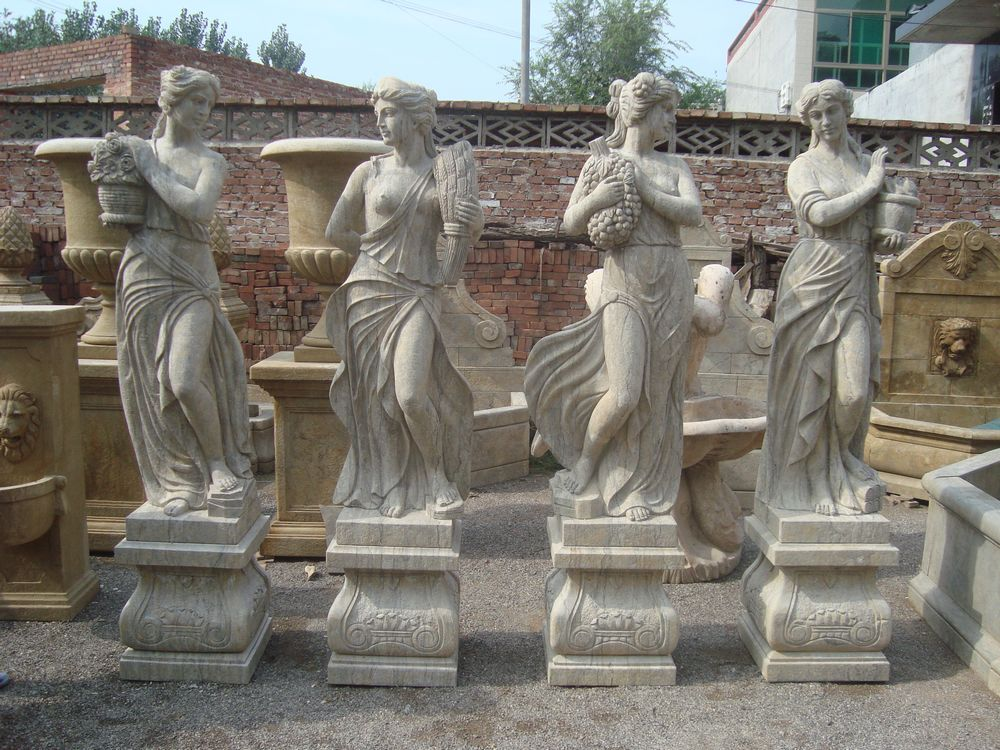 Old Garden Statue: Hand Carved Marble Antique Four Season Statue For Sale
