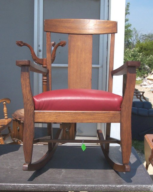 Red Leather Rocking Chair ~ For sale antiques classifieds