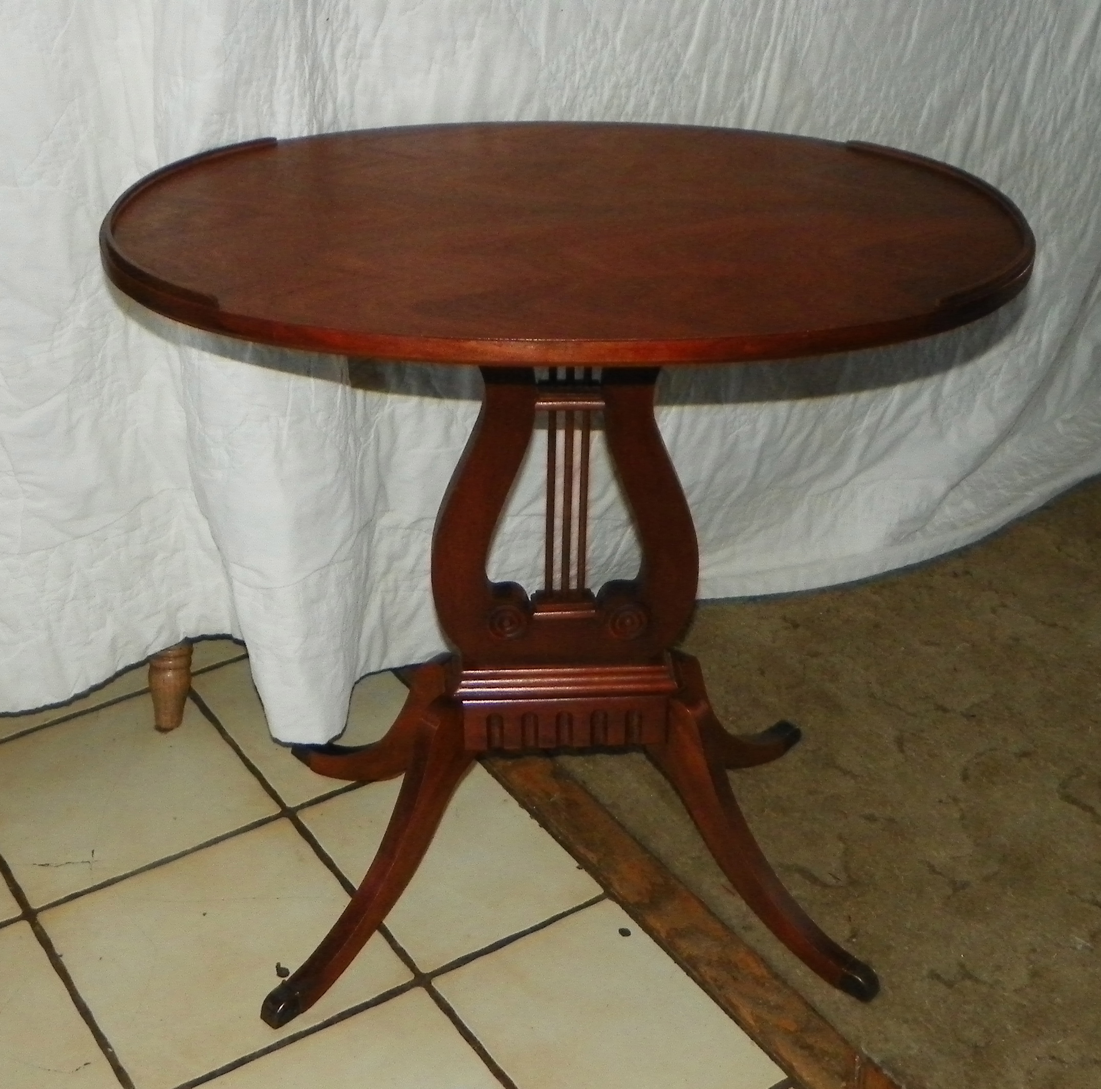 oval mahogany lyre base end table side table t388 for sale antiquescom classifieds - Antique Mahogany End Tables