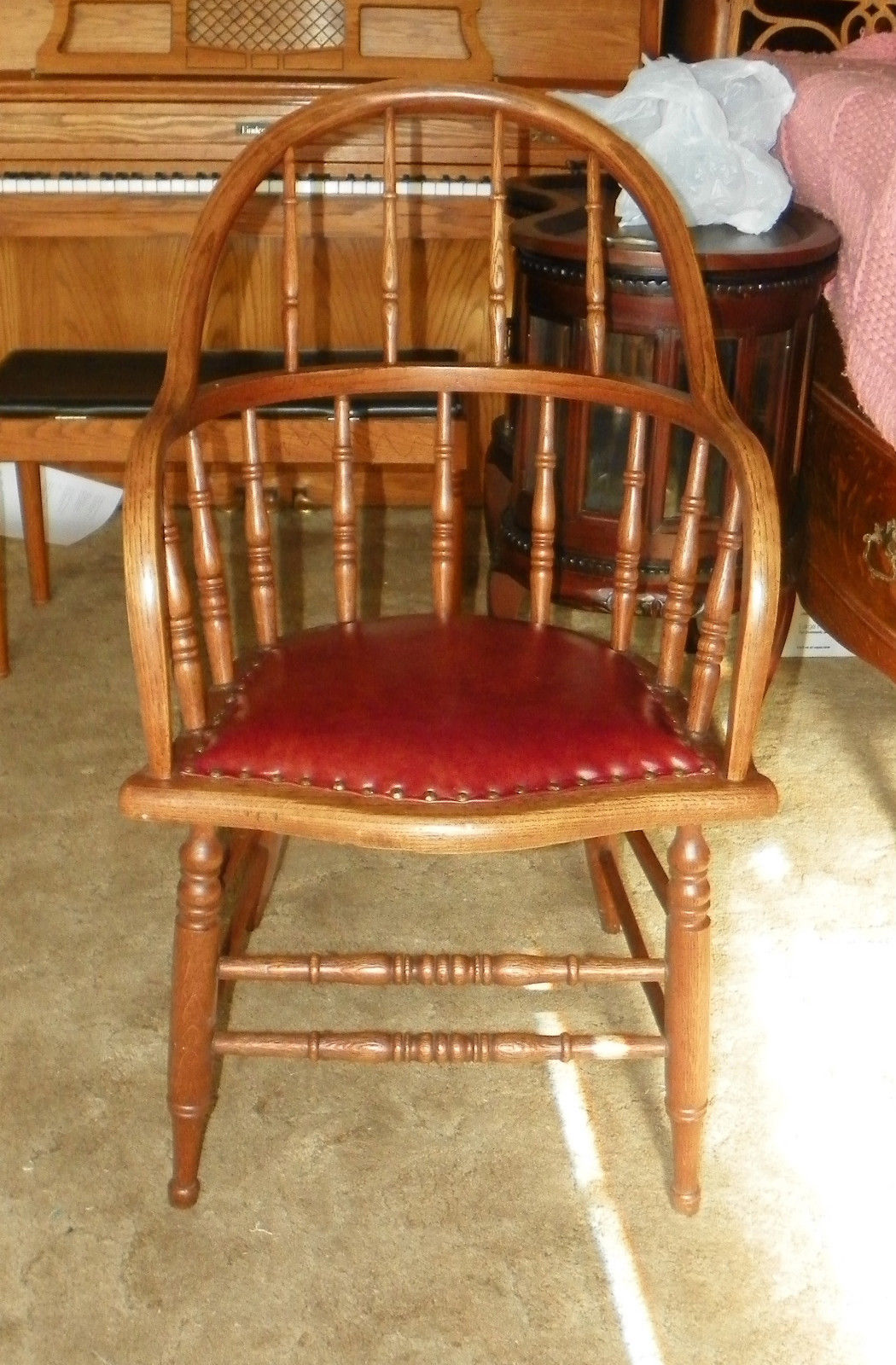 Quartersawn Oak Firehouse Armchair Chair With Leather Seat