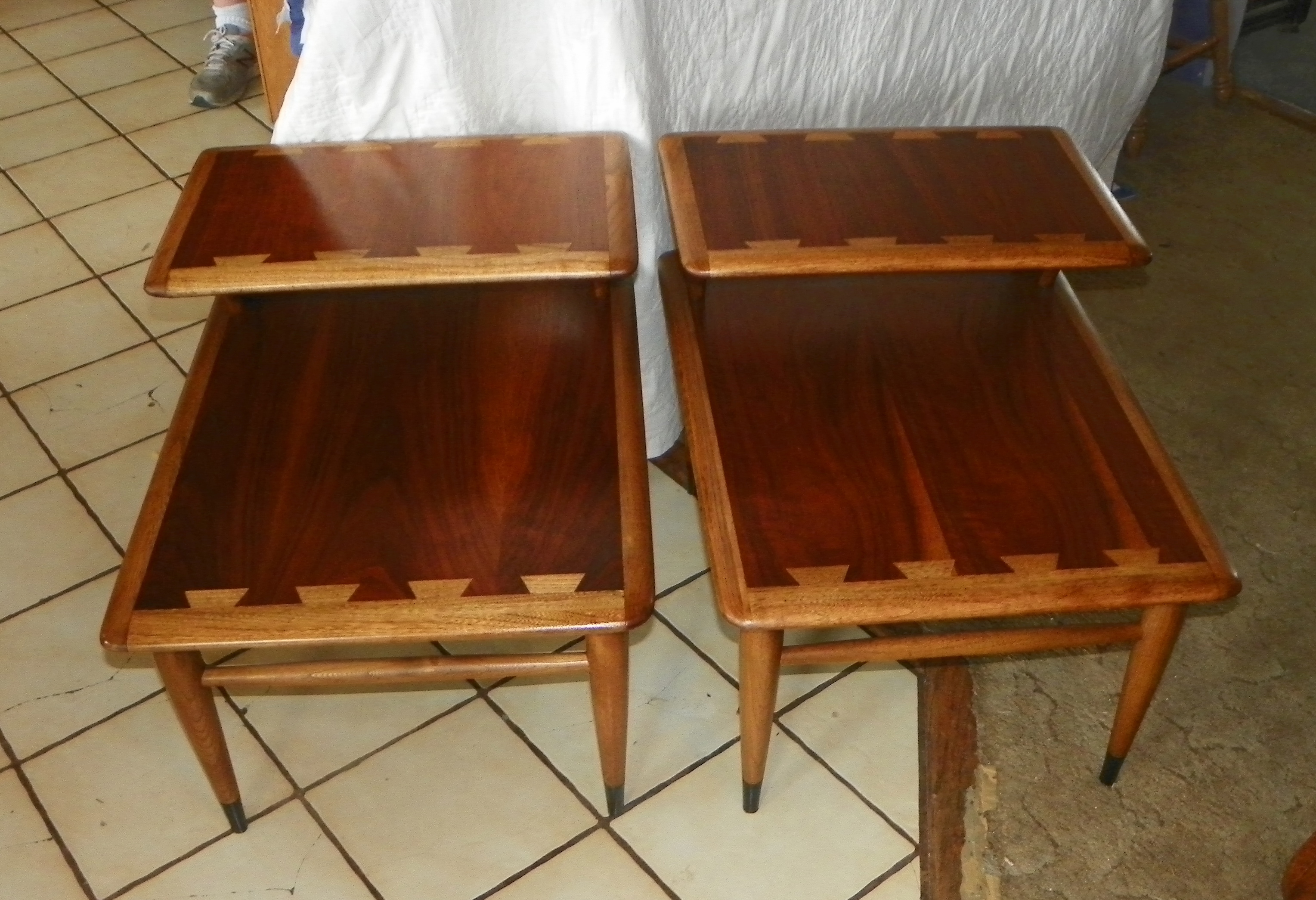 Pair Lane Mid Century Modern Walnut Ash Step End Tables Side