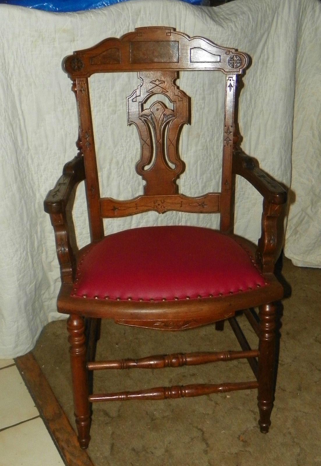 Walnut Carved Eastlake Armchair Desk Chair Ac15 For