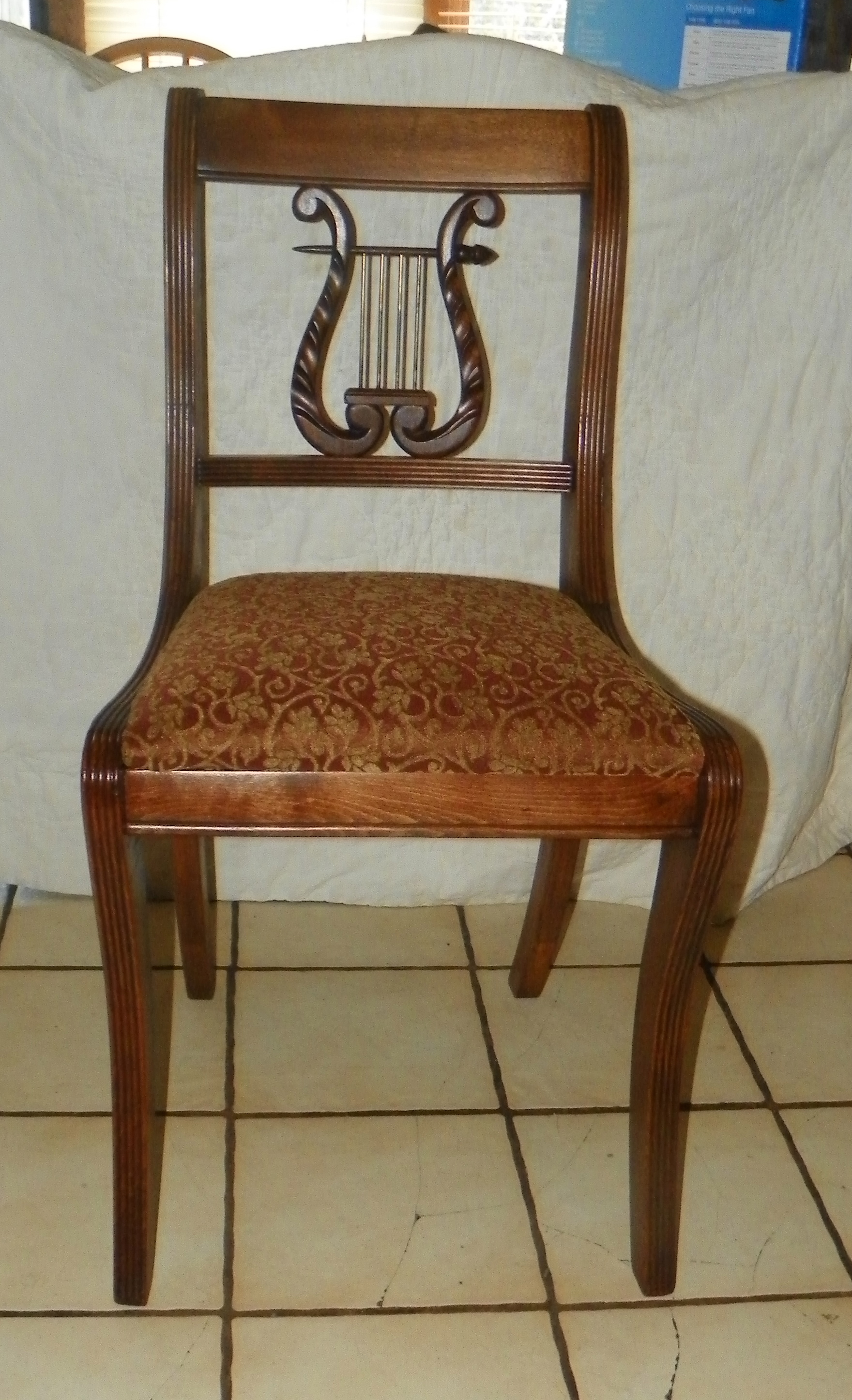 Mahogany Lyre Back Desk Chair / Sidechair By Tell City (SC39) For Sale |  Antiques.com | Classifieds