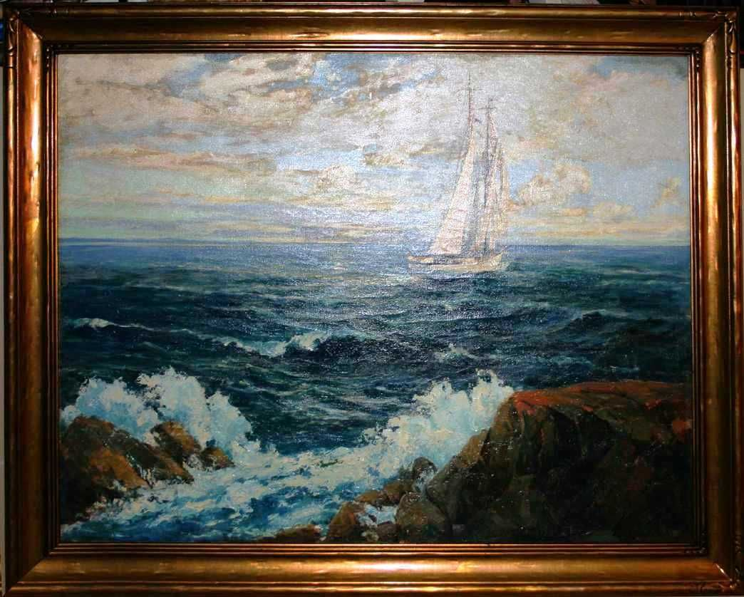 Superb large 20th c american seascape oil painting by for Large prints for sale