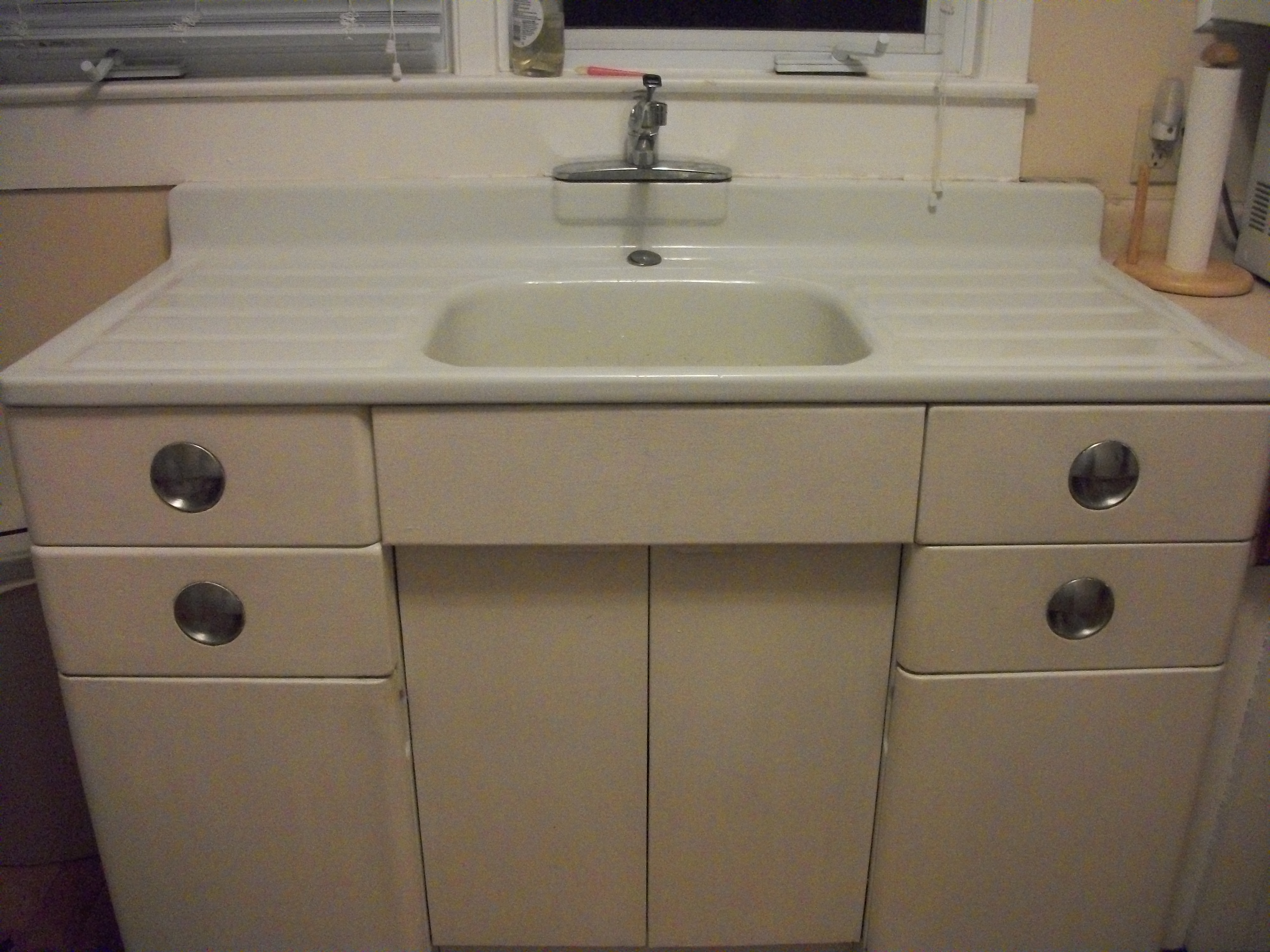 1950 39 s sears roebuck metal kitchen cabinet and porcelain sink with