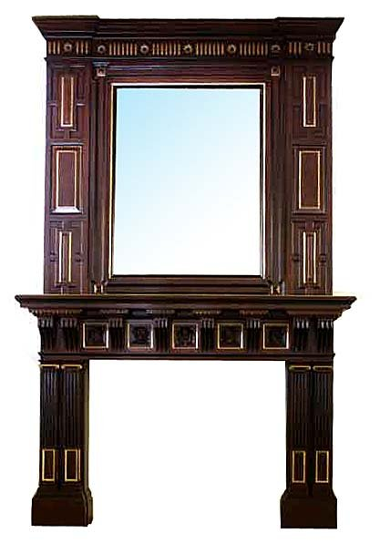 Spectacular antique mahogany fireplace mantel over for Mirror for above fireplace mantel