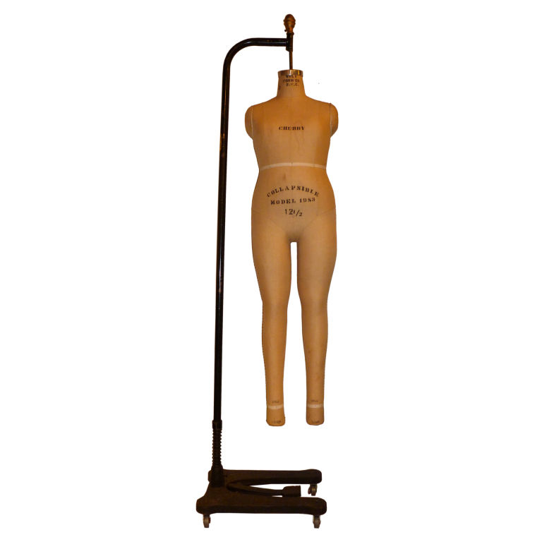 Vintage New York City Dress Form Mannequin on Industrial Stand For ...