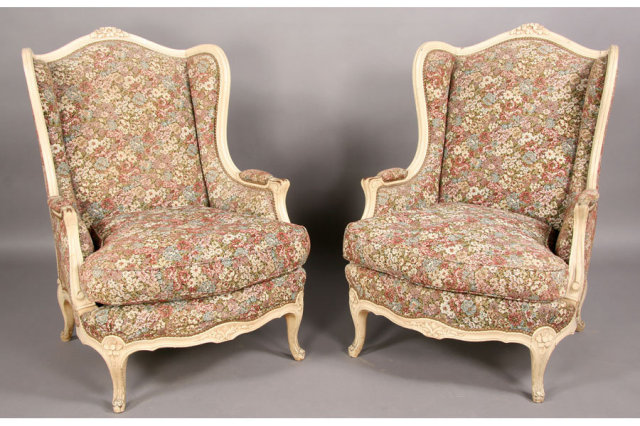BEST PAIR PAINTED FRENCH BERGERE WING CHAIRS CARVED Thank you for viewing  our inventory, we hope you will enjoy our selections as much as we do. - BEST PAIR PAINTED FRENCH BERGERE WING CHAIRS CARVED For Sale