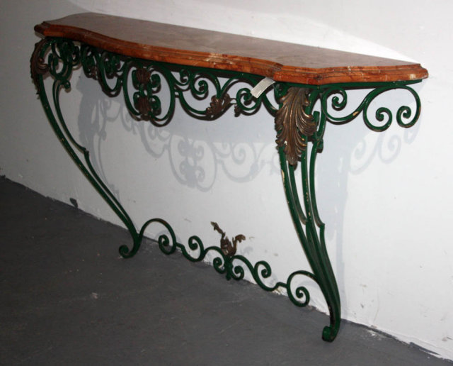 Elegant ANTIQUE ITALIAN CAST IRON MARBLE CONSOLE TABLE J4858   For Sale