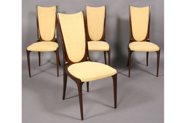 Mid century modern set four dining chairs high back for for Modern high back dining chairs