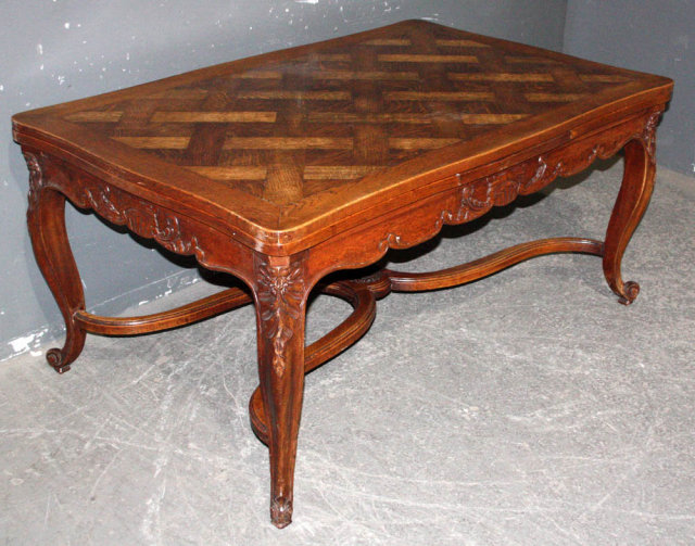 Country French Oak Extending Draw Leaf Dining Table For Sale