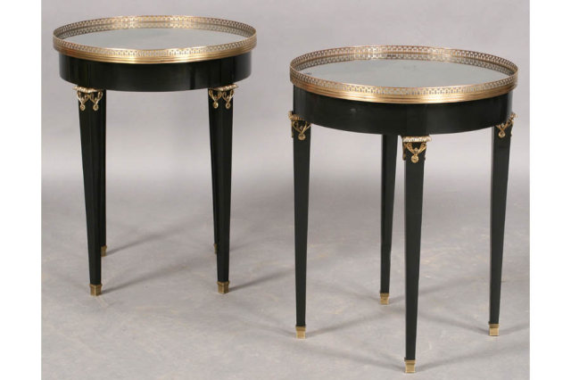 PAIR FRENCH LOUIS XVI EBONIZED GUERIDONS END TABLES Today We Offer You A  Great Pair Of French Louis XVI Ebonized And Bronze Mounted Gueridons With  Openwork ...