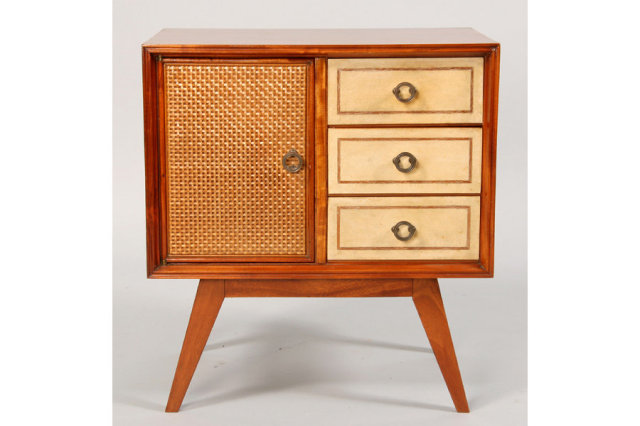 MODERN MAHOGANY AND PARCHMENT SIDE CABINET Thank You For Viewing Our  Inventory, We Hope You Will Enjoy Our Selections As Much As We Do.
