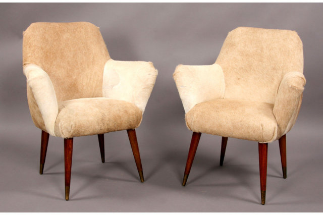 PAIR OF MID CENTURY MODERN BARREL BACK CHAIRS   For Sale