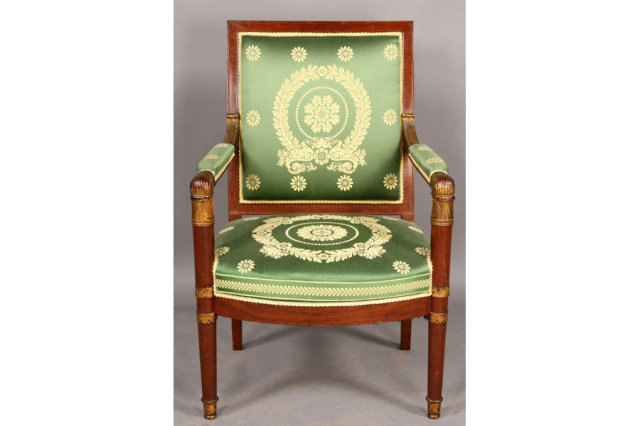 FRENCH EMPIRE ARM OPEN ARM CHAIR CARVED GILT CIRCA 1840 Today we offer you  this beautiful French Empire Arm Chair  This amazing piece is shaped and  carved. FRENCH EMPIRE ARM OPEN ARM CHAIR CARVED GILT CIRCA 1840 For Sale