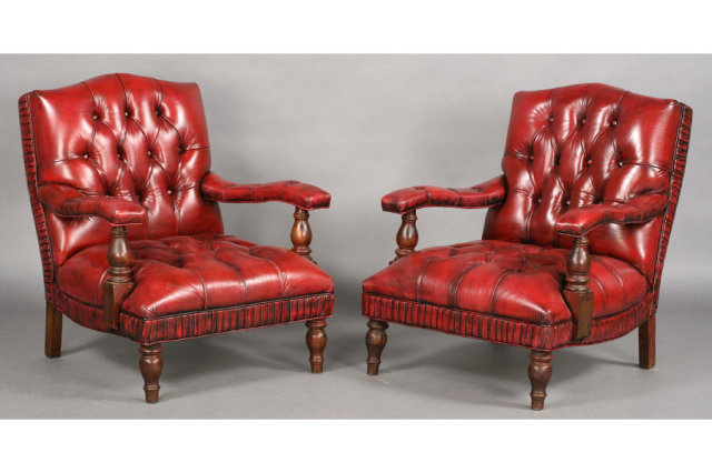 Pair English Edwardian Leather Library Chairs J6549 For
