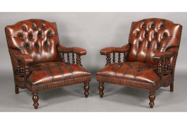 pair edwardian leather upholstered library chairs j6551 for sale