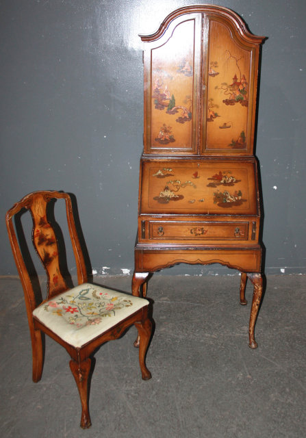 Chinoiserie Oriental Painted Secretary Desk Chair M3664 For Sale