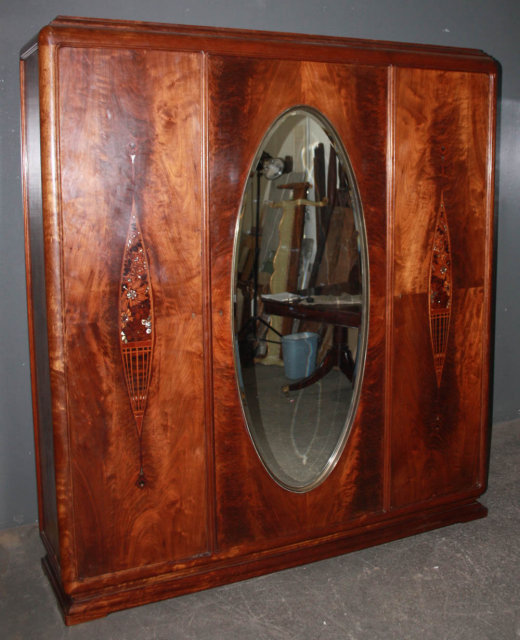 art deco crotch mahogany armoire wardrobe closet m3631 for sale classifieds. Black Bedroom Furniture Sets. Home Design Ideas