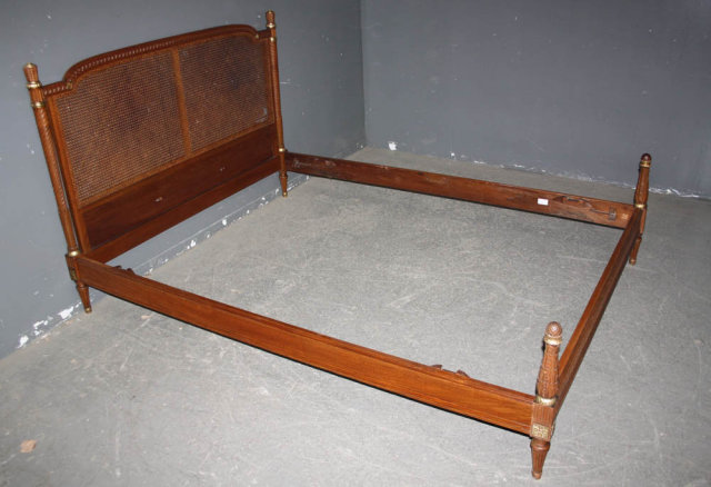 FRENCH LOUIS XVI QUEEN SIZE BED CARVED CANE GILT J6524 For Sale