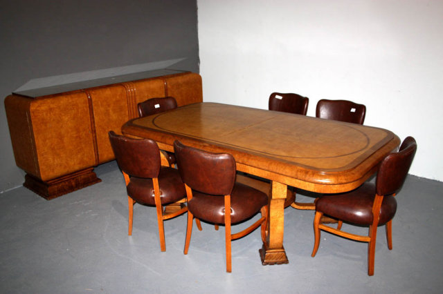 Antique art deco dining room set chairs sideboard table for Antique dining room tables