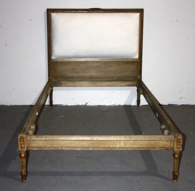 french louis xvi upholstered painted twin bed j4785 you are bidding on a french louis xvi upholstered painted twin bed this bed features nicely fluted legs - Twin Bed For Sale