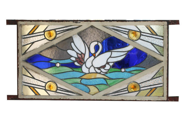 Hand Painted Art Deco Stained Glass Window Circa 1930 For