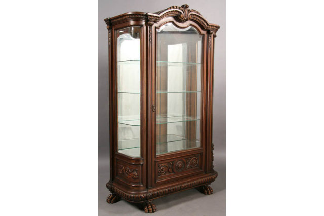 Antique Victorian China Cabinet Carved Paw Foot C 1890 For