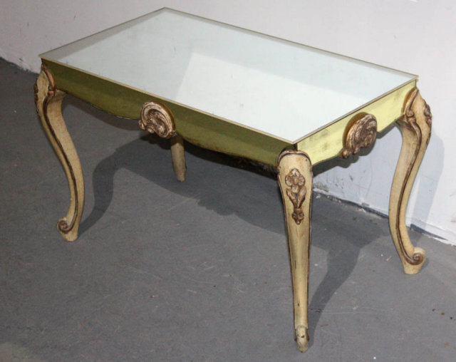 Painted French Louis Xv Style Mirrored Coffee Table For Sale