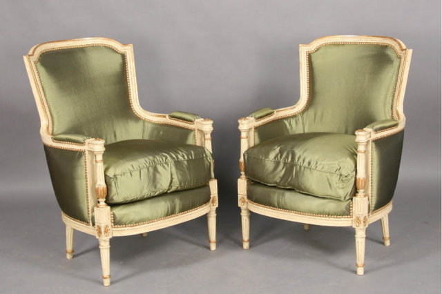 pair french louis xvi painted gilt bergere chairs for sale classifieds. Black Bedroom Furniture Sets. Home Design Ideas
