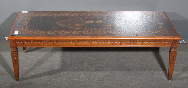 FRENCH WOOD INLAY COFFEE TABLE GLASS CARVED J5887 Thank You For Viewing Our  Inventory, We Hope You Will Enjoy Our Selections As Much As We Do.