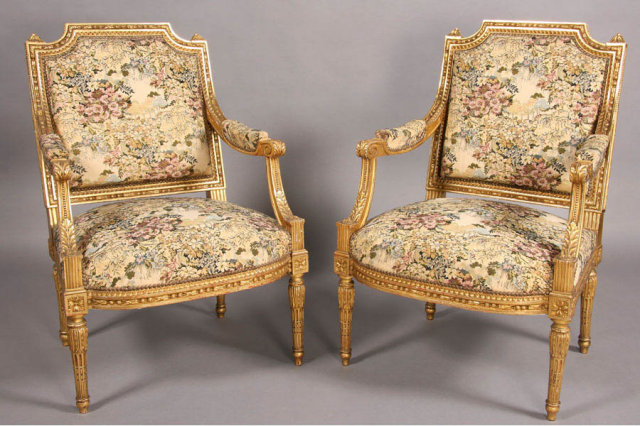 GILT PAINTED FRENCH LOUIS XVI ARM CHAIRS CARVED J6432 A  p  Today we offer  you this beautiful pair of French Louis XVI Style Arm Chairs GILT PAINTED FRENCH LOUIS XVI ARM CHAIRS CARVED J6432 A For Sale  . Louis Xvi Style Furniture For Sale. Home Design Ideas