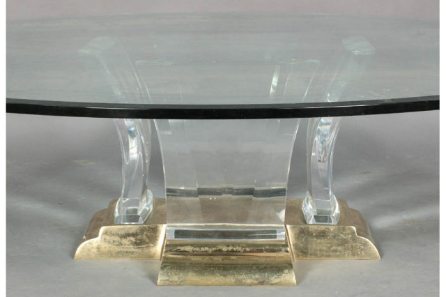 LARGE MID CENTURY MODERN LUCITE AND BRASS COFFEE TABLE   For Sale
