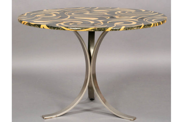 mid century modern dining table swirl style top j6639 for sale
