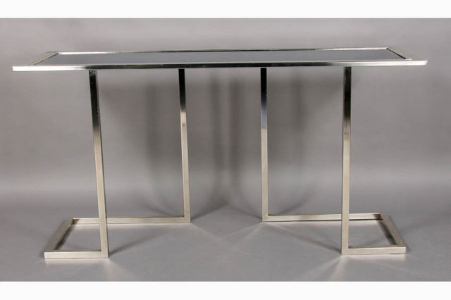 Unique modern chrome console table inset mirror top for sale