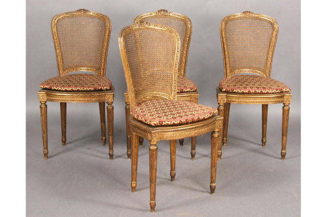 FOUR FRENCH LOUIS XVI CARVED GILT U0026 CANED SALON CHAIRS Today We Offer You A  Great Set Of Four French Louis XVI Style Carved Giltwood And Caned Salon  Chairs ...