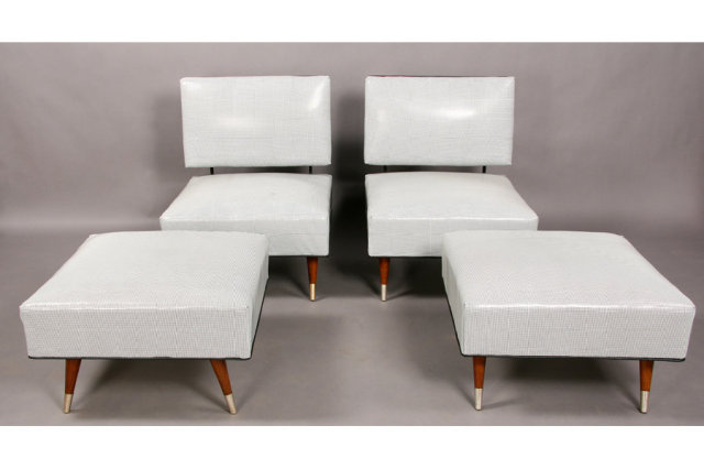 pair of upholstered modern slipper chairs with ottomans for sale