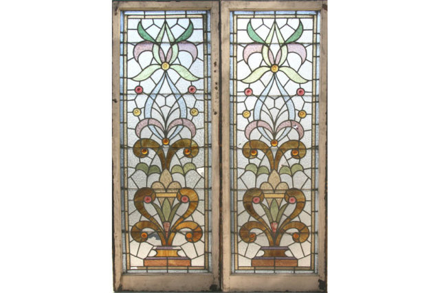 GREAT PAIR ANTIQUE STAINED GLASS WINDOWS **CIRCA 1915** - For Sale - GREAT PAIR ANTIQUE STAINED GLASS WINDOWS **CIRCA 1915** For Sale