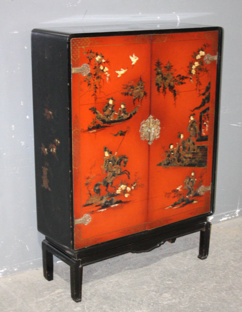 Chinoiserie oriental themed painted bar cabinet j6433 for for Oriental furniture for sale