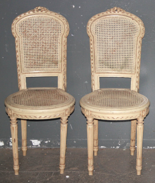 french cane chair. PAIR FRENCH LOUIS XVI PAINTED CANE CHAIRS J6253B - For Sale French Cane Chair I