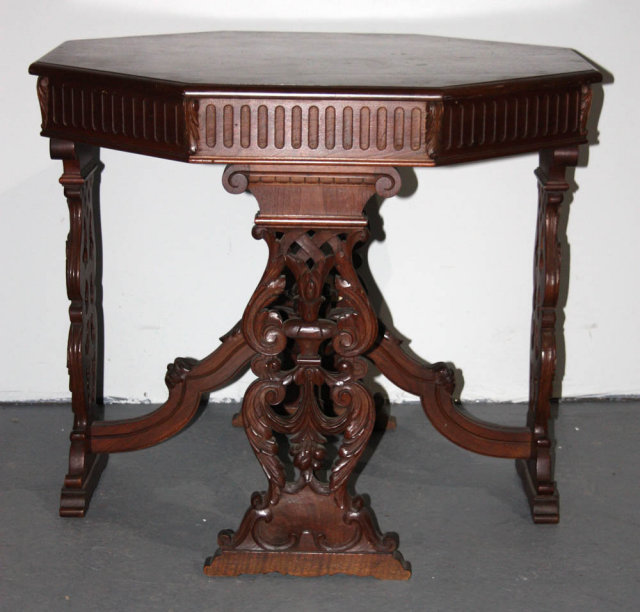 Octagonal american classic walnut dining table for for American classic antiques