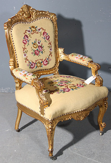 GREAT GILDED CARVED ROCOCO AMERICAN VICTORIAN ARM CHAIR - For Sale - GREAT GILDED CARVED ROCOCO AMERICAN VICTORIAN ARM CHAIR For Sale